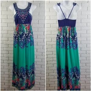 Flying Tomato Halter Maxi Dress S Green Paisley
